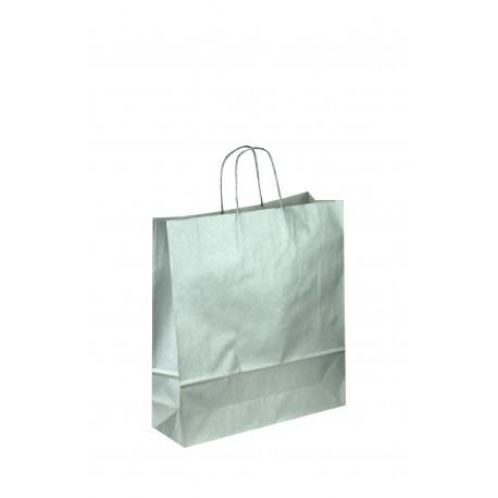 Bolsa de papel celulosa asa rizada plata 32x13x41cm