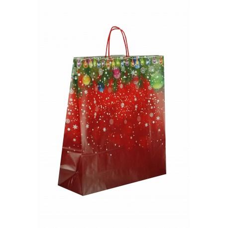 Bolsa de papel asa rizada estampado navideño 45x15x49cm