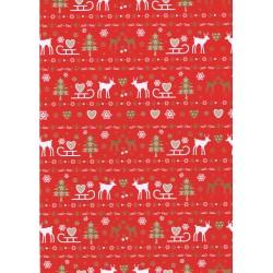 Rollo de papel regalo estampado renos fondo rojo 62cm 4kg