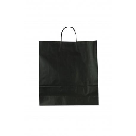 Bolsa de papel celulosa asa rizada negro 36x12x41cm