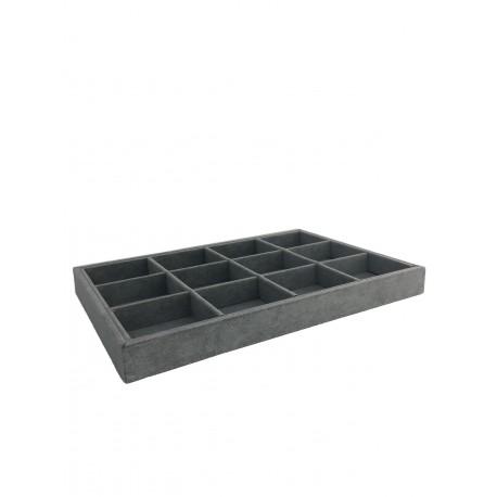 Bandeja expositora de joyeria en terciopelo gris 12 compartimentos