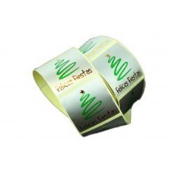 Etiquetas adhesivas para tiendas árbol felices fiestas 4x4cm