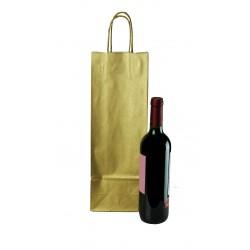 Bolsa de papel asa rizada para botellas oro 39x14+8.5cm