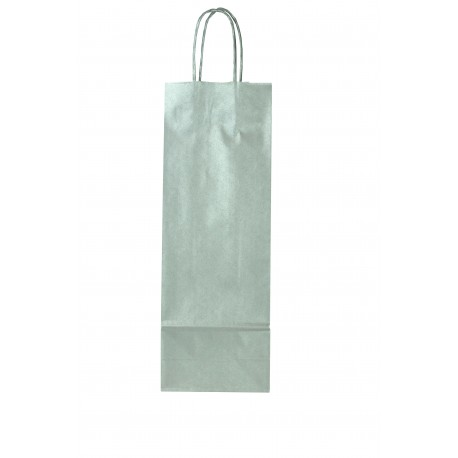 Bolsa de papel asa cordón para botellas color plata 36x13+8.5cm
