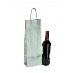 Bolsa de papel con asa rizada para botellas color plata 36x13+8.5cm