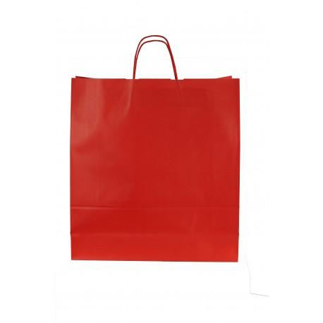 Bolsa de papel con asa rizada roja 49x45x15cm
