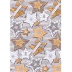 Papel para regalo estampado estrellas navidad fondo gris 62cm