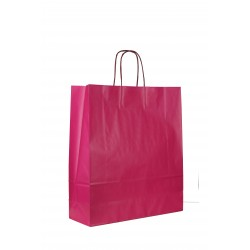 Bolsa de papel celulosa asa rizada fucsia de 37x27x12cm