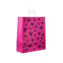 Bolsa de papel celulosa asa rizada fucsia estampado corazones 45x49x16cm