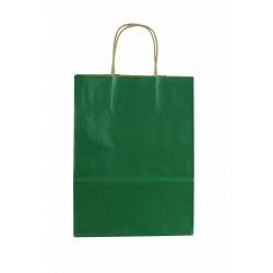 Bolsa de papel kraft asa rizada verde 27x22x10cm