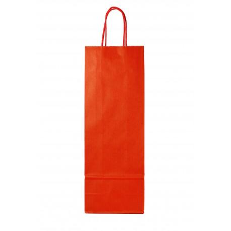 Bolsa de papel asa rizada para botellas rojo 39x14+8.5cm