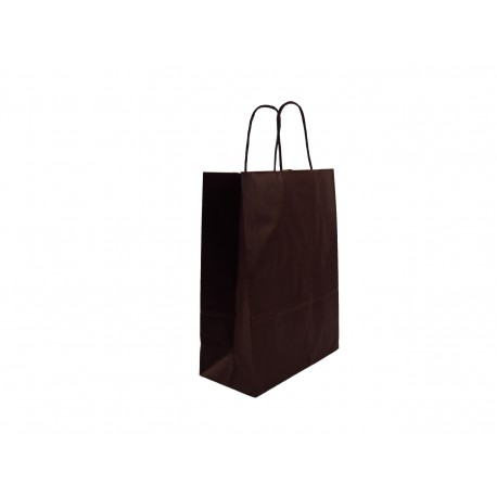Bolsa de papel kraft asa rizada marrón 36x27x12cm