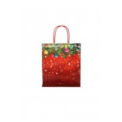 Bolsa de papel asa rizada estampado navideño 29x22x10cm