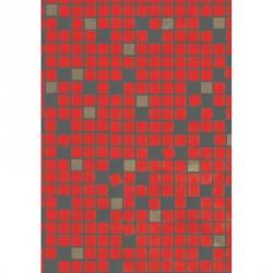 Papel para regalo estampado cuadros fondo rojo 62cm