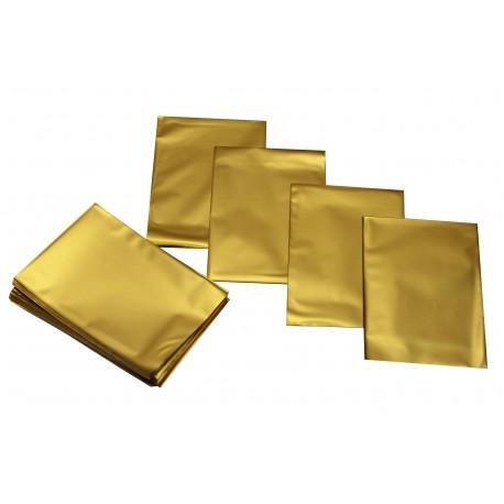 Sobre de plástico oro metalizado 15x10 cm 100 unidades