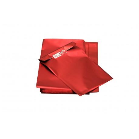 Sobres de plástico rojo metalizado 25x15 cm 100 unidades