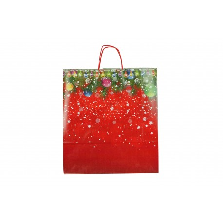 Bolsa de papel asa rizada estampado navideño 32x13x41cm