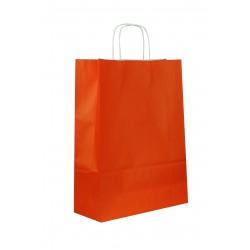 Bolsa de papel con asa rizada naranja 41x32x12cm
