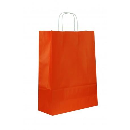 Bolsa de papel celulosa asa rizada naranja 41x32x12cm