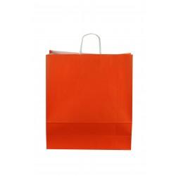 Bolsa de papel con asa rizada naranja 49x44x15cm