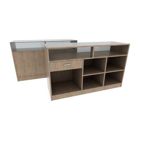 Mostrador de madera color oak claro 150x50x90cm
