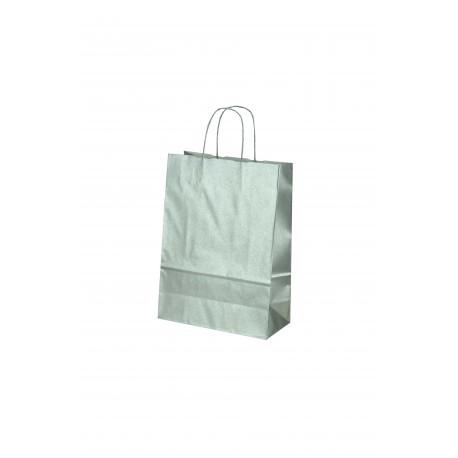 Bolsa de papel celulosa asa rizada plata 37x27x12cm