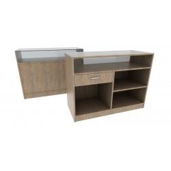 Mostrador de madera color oak claro 120x90x50cm