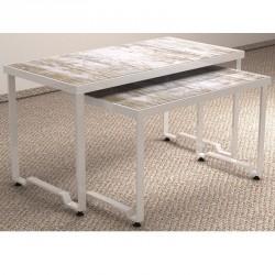 Mesas expositoras para tienda conjunto 2 alturas blanco