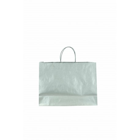 Bolsa de papel celulosa asa cordón plata 33x15x45cm