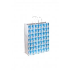 Bolsa de papel asa rizada azul estampado triángulos 40x32x12cm