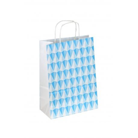 Bolsa de papel asa rizada azul estampado triángulos 32x22x12cm