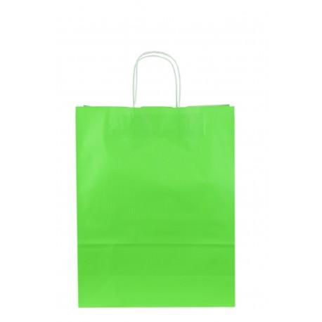 Bolsa de papel asa rizada verde claro 41x32x13cm