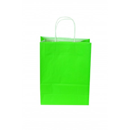 Bolsa de papel asa rizada verde claro 29x22x10cm