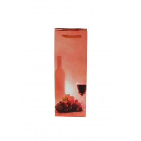 Bolsa de papel asa cordón para botellas coral 36x13+8.5cm