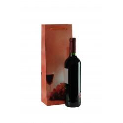 Bolsa de papel con asa cordón para botellas coral 36x13+8.5cm