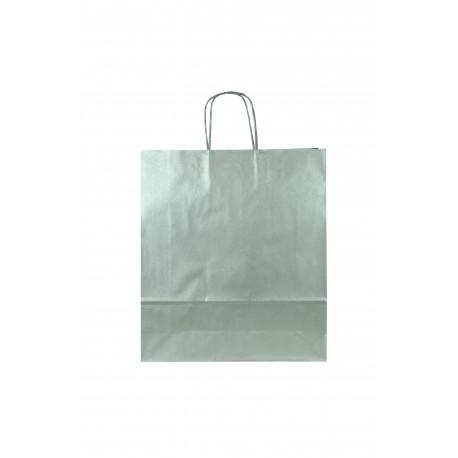 Bolsa de papel con asa rizada plata 22x10x27cm