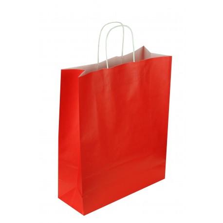 Bolsa de papel asa rizada rojo 32x13x41cm