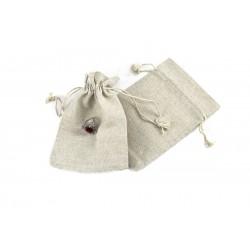 Bolsa de lino beige para joyeria 16x12cm