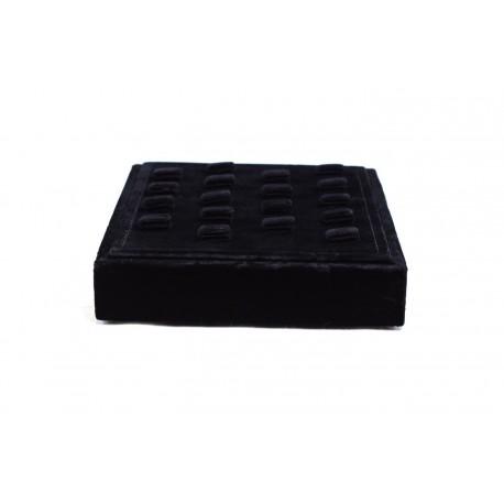 Bandeja expositora para anillos en terciopelo negro 16.5x18.5 cm.