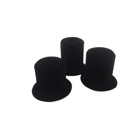 Conjunto xpositor para anillos en terciopelo negro 3 alturas