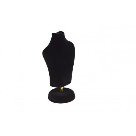Busto expositor de joyería en terciopelo negro 15 cm