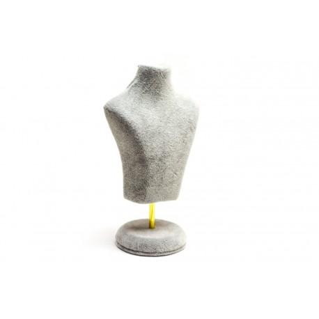 Busto expositor para joyeria en terciopelo gris 15 cm