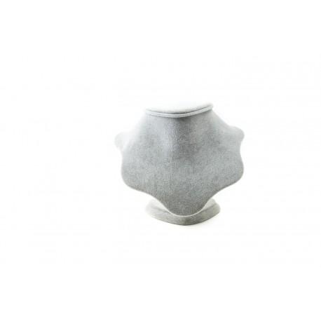 Busto expositor para collares en terciopelo gris 20 cm
