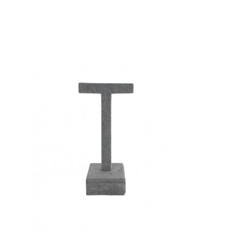 Expositor para pendientes forma T en terciopelo gris