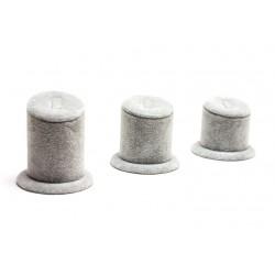 Conjunto expositor de anillos en terciopelo gris 3 alturas