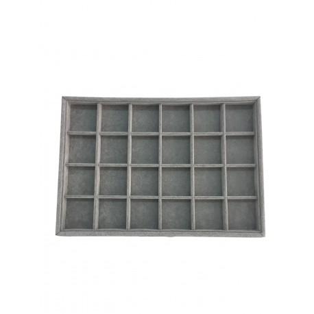 Bandeja expositora de joyeria en terciopelo gris 24 compartimentos