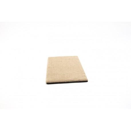 Base expositor de joyería en lino grueso y polipiel negro 18x28 cm
