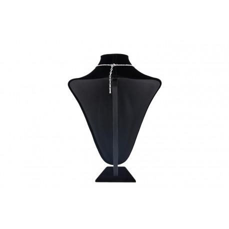 Busto expositor para collares en terciopelo negro 37 cm