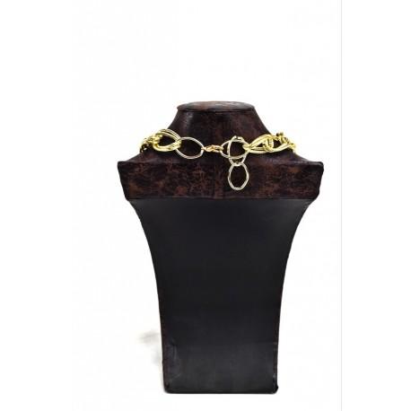 Busto expositor para collares polipiel veteado marrón grande 29 cm