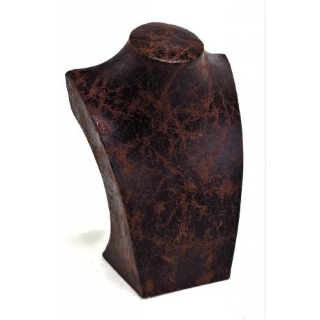 Busto expositor para collares polipiel veteado marrón 21 cm